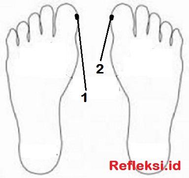 Titik Refleksi pilek di telapak kaki